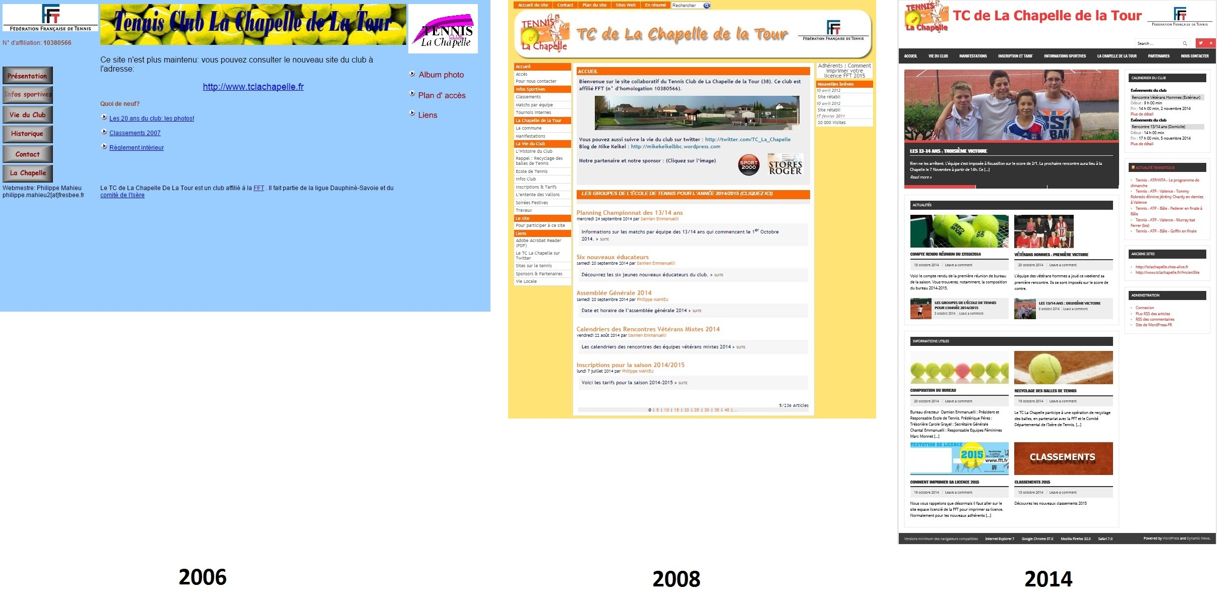 Evolution des sites internet du tennis club la Chapelle de la Tour